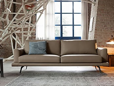 Charles - Grey leather sofa